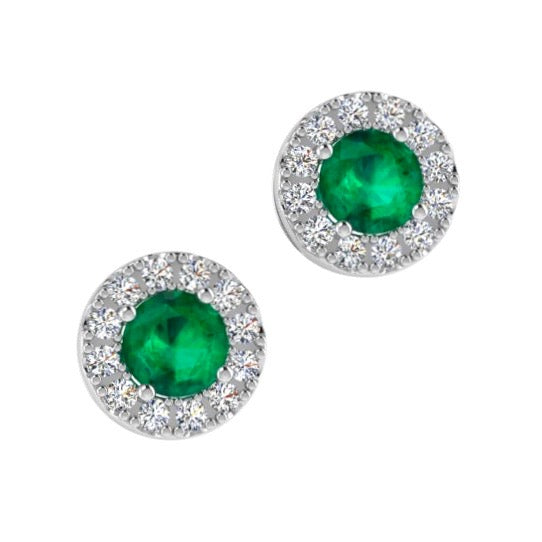 Emerald Stud Earrings with Diamond Halo 18K Gold