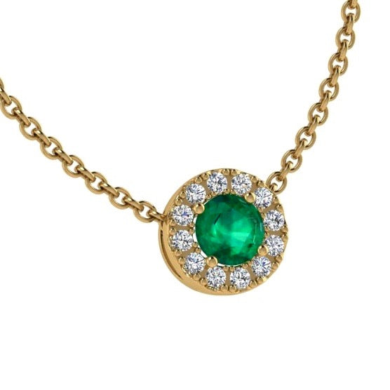 Emerald Necklace with Diamond Halo 14K Gold