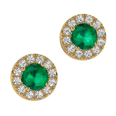 Emerald Stud Earrings Diamond Halo 18K Gold - Thenetjeweler