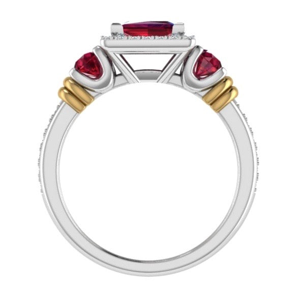 Three Stone Ruby and Diamond Halo Ring 14K Gold - Thenetjeweler