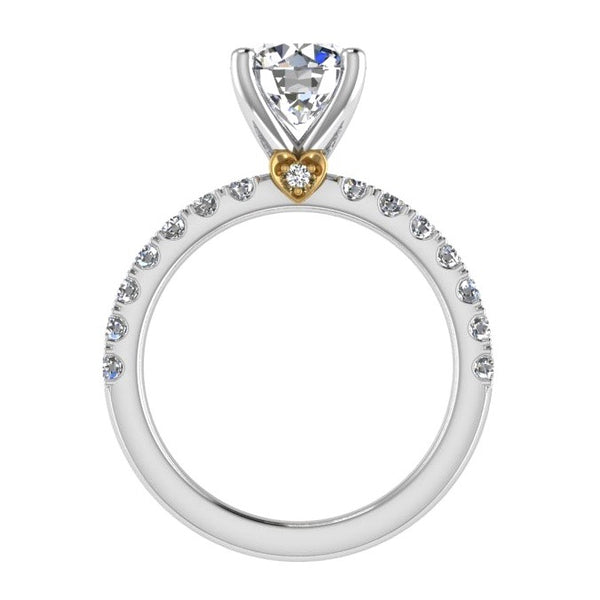 Round Diamond Engagement Ring with Heart Basket 18K Gold - Thenetjeweler