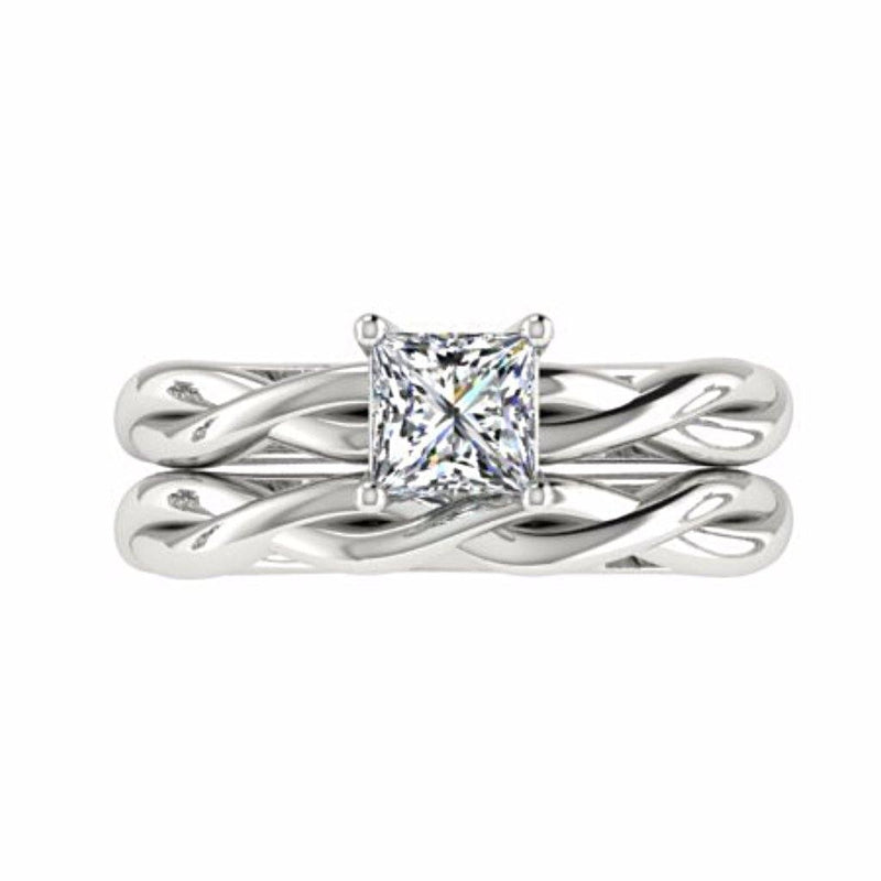 Princess Cut Twist Band Solitaire Engagement Ring Set 18K White Gold - Thenetjeweler