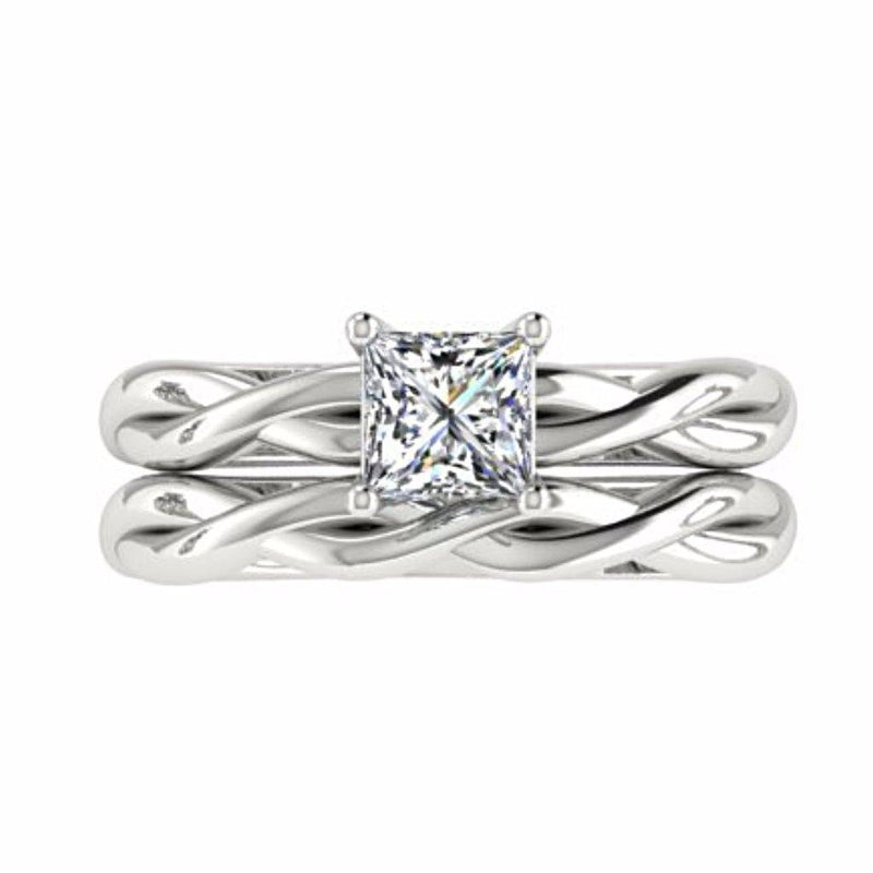 Princess Cut Twist Band Side Stone Engagement Ring Set 18K White Gold - Thenetjeweler