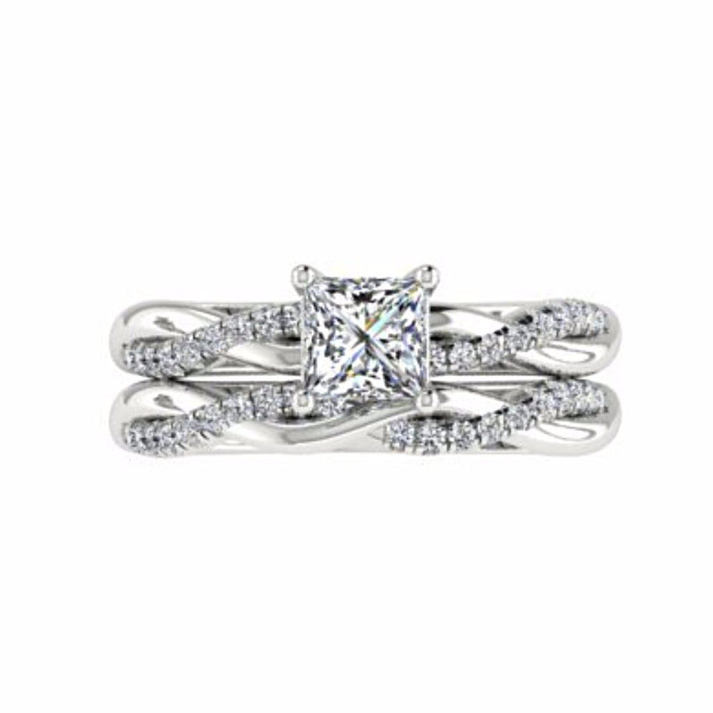 Princess Cut Twist Band Solitaire Engagement Ring Set 18K White Gold - Thenetjeweler by Importex
