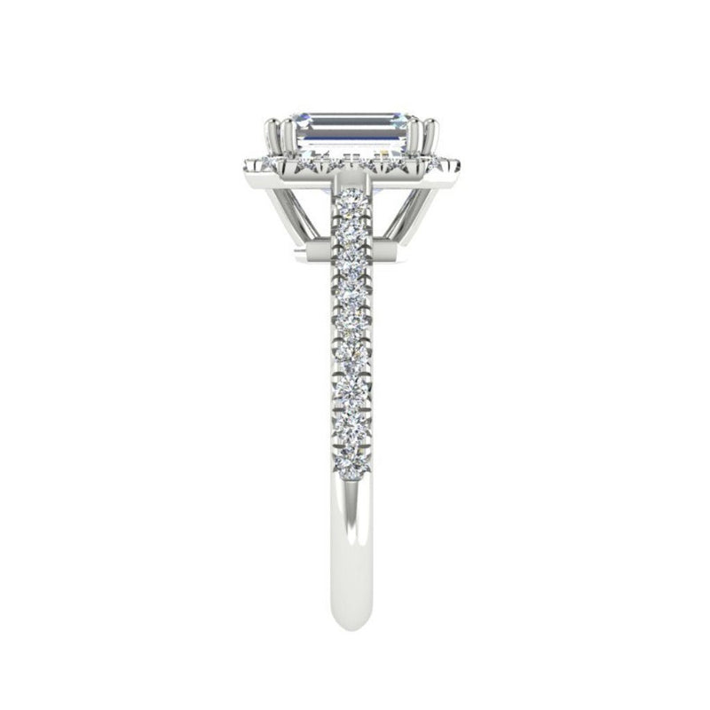 Emerald Cut Diamond Halo Engagement Ring with Side Stones 18K Gold (0.36 ct.tw.) - Thenetjeweler