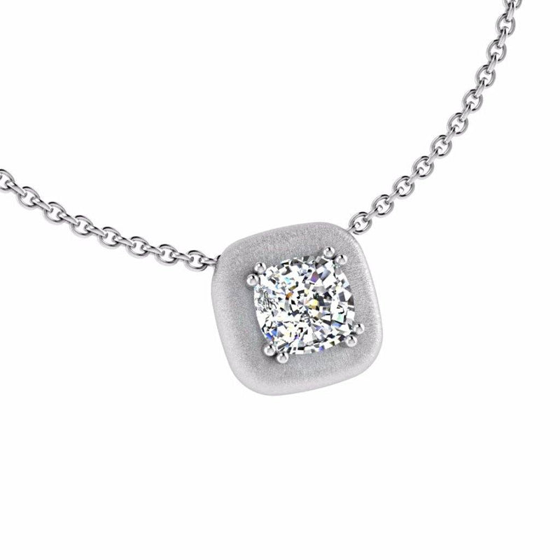 Cushion Diamond Solitaire Pendant 14K Gold - Thenetjeweler
