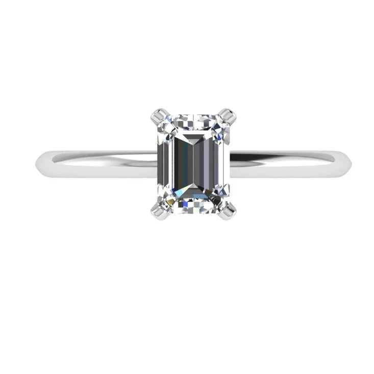 Emerald Cut Solitaire Diamond Ring - Thenetjeweler