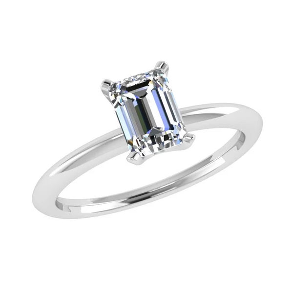 emerald cut solitaire diamond ring