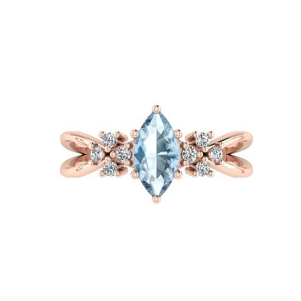 Marquise Blue Topaz Diamond Split Shank Ring 18K Pink Gold - Thenetjeweler