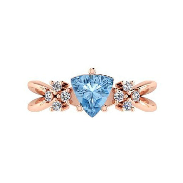 Trillion Blue Topaz and Diamond 18K Pink Gold - Thenetjeweler
