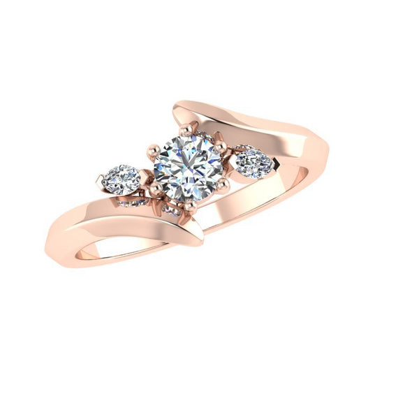 Three Stone Engagement Ring 18K Rose Gold - Thenetjeweler
