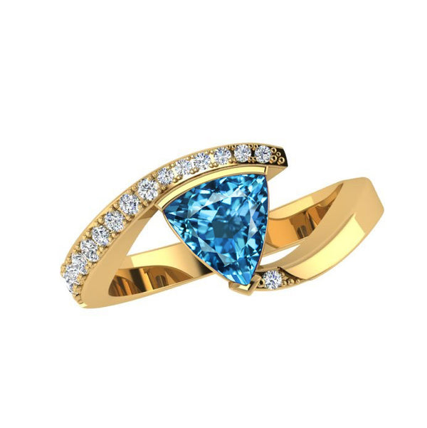 Trillion Cut Gemstone and Diamond Ring 14K Gold - Thenetjeweler