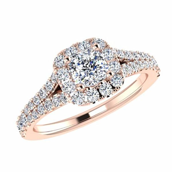 Split Shank Halo Diamond Ring with Side Stones 18K Rose Gold - Thenetjeweler
