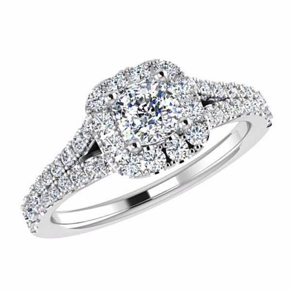 Cushion Diamond Halo Engagement Ring Split Shank Side Stone 18K Gold Setting - Thenetjeweler