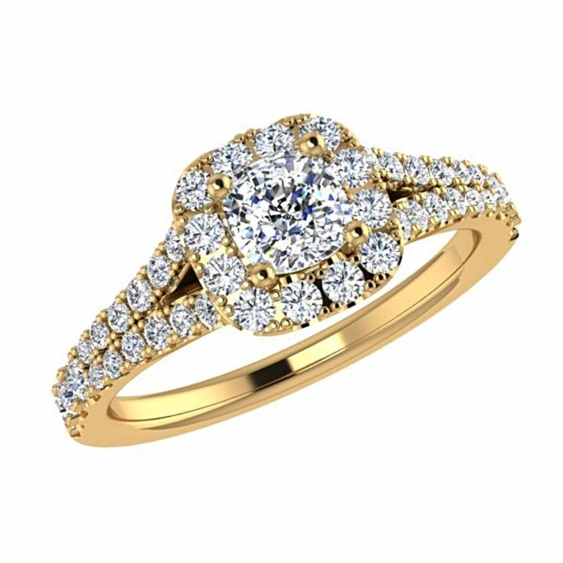 Round Diamond Cushion Halo Side Stone Engagement Ring 18K Gold - Thenetjeweler
