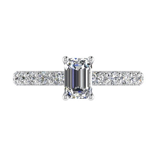 Emerald Cut Diamond Engagement Ring with Side Stones 18K Gold - Thenetjeweler