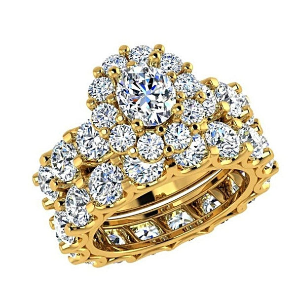 Oval Halo Diamond Ring and Eternity Set 18K Gold - Thenetjeweler