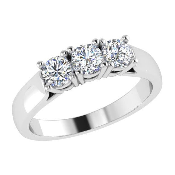 Round Diamond Three Stone Engagement Ring 18K Gold