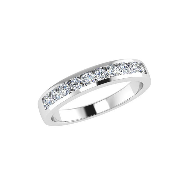 channel set diamond half eternity ring