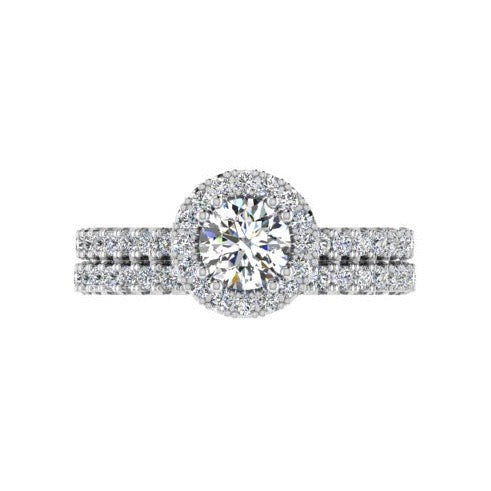 Halo Diamond Engagement Ring & Eternity Band Set 18K Gold - Thenetjeweler