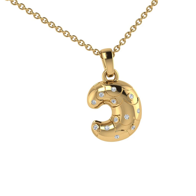 Croissant Dangling Pendant Gold with Diamonds - Thenetjeweler