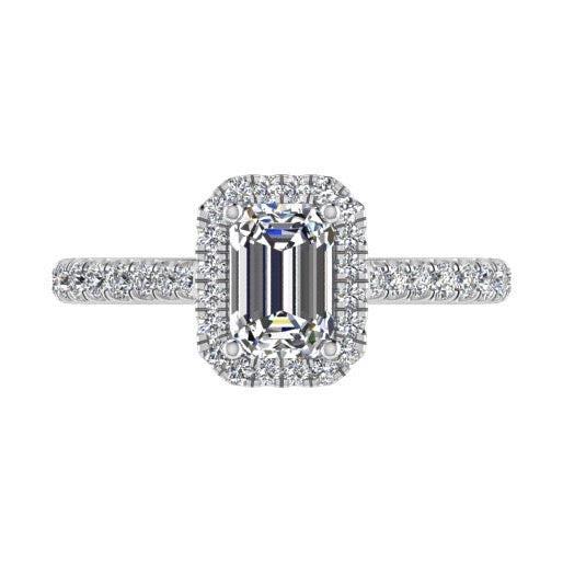 Emerald Cut Diamond Halo Engagement Ring 18K Gold 0.52cts - Thenetjeweler