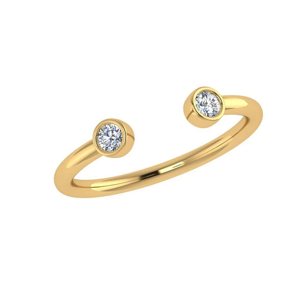 Diamonds Open Ring 14K Yellow Gold 0.12 ct.TW - Thenetjeweler