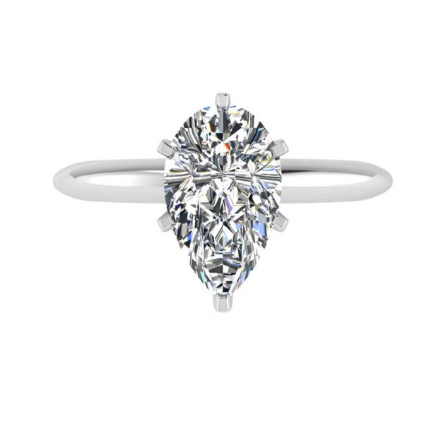 Pear Diamond Engagement Ring 18K White Gold - Thenetjeweler