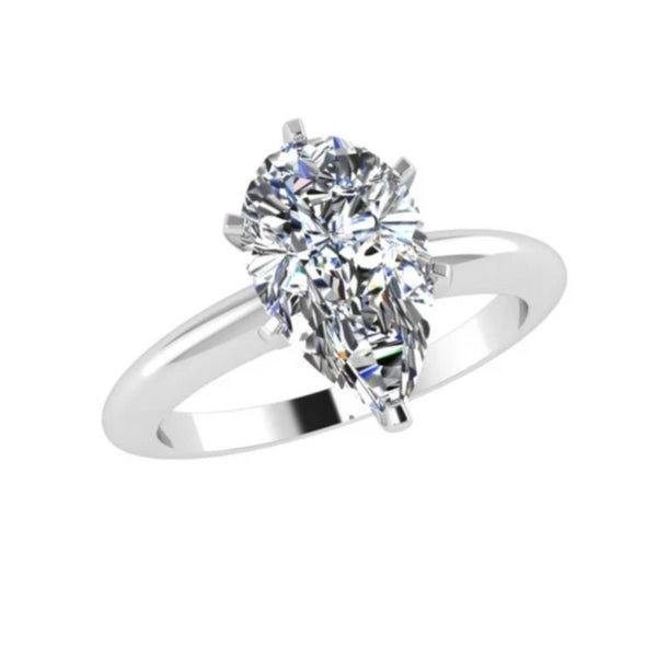 Pear Diamond Engagement Ring 18K White Gold