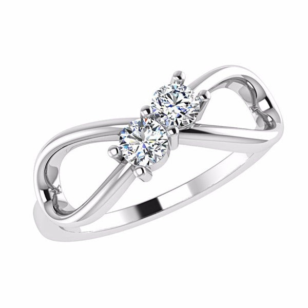 Diamond Infinity 2 Stone Ring 14K Gold - Thenetjeweler