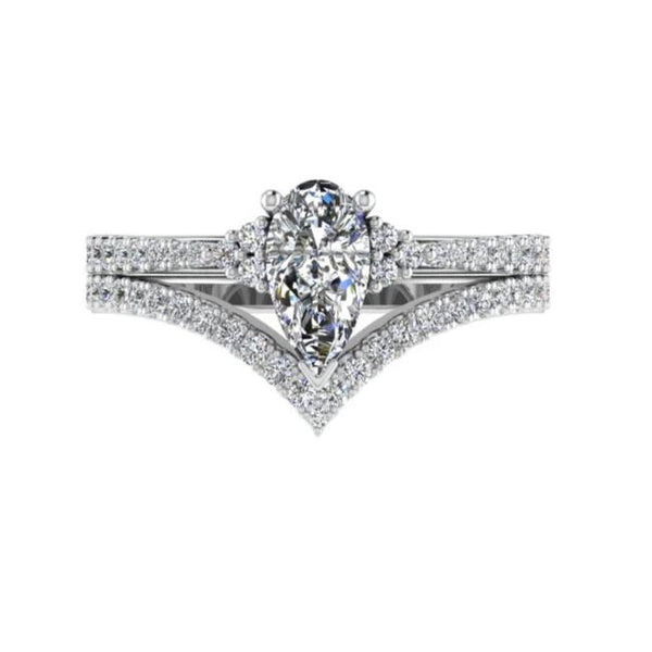Pear cut Diamond Ring and V Shaped Diamond Band Bridal Set - Thenetjeweler