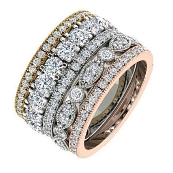 Diamond Stacked Bands Anniversary Rings 18k Gold 1.74 cwt - Thenetjeweler by Importex