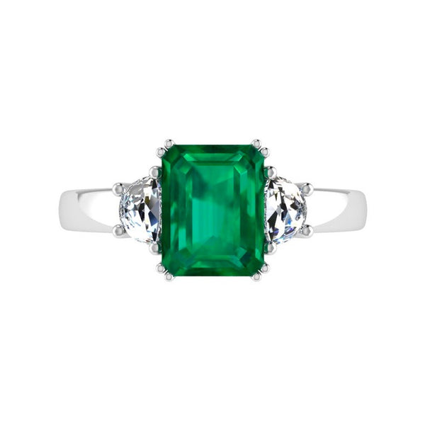Emerald-Cut Emerald and Half Moon Diamond Ring - Thenetjeweler