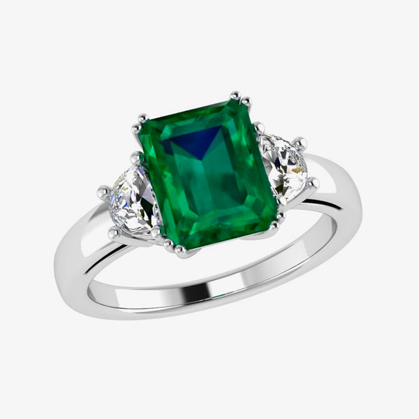 Emerald-Cut Emerald and Half Moon Diamond Ring