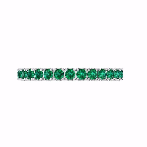 Emerald Eternity Band 14K White Gold - Thenetjeweler