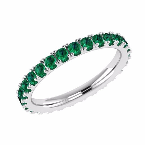 Emerald Eternity Band 14K White Gold - Thenetjeweler by Importex