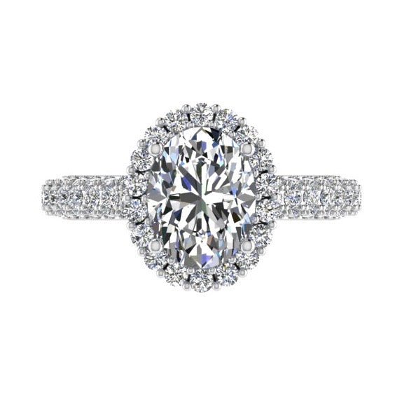 Oval cut halo diamond engagement ring 18K Gold (1.19 ct. tw) - Thenetjeweler