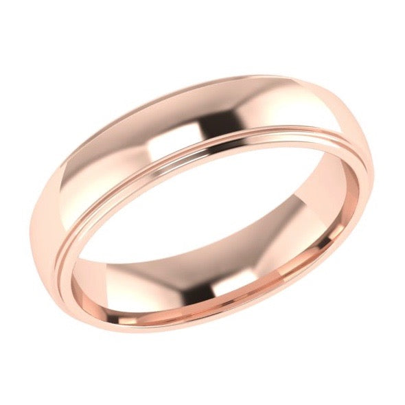 5mm Men's Wedding Band Ring 14K Gold - Thenetjeweler
