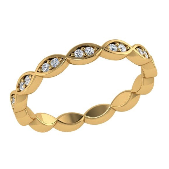 Marquise Shaped Round Diamond Eternity Ring 18K Gold