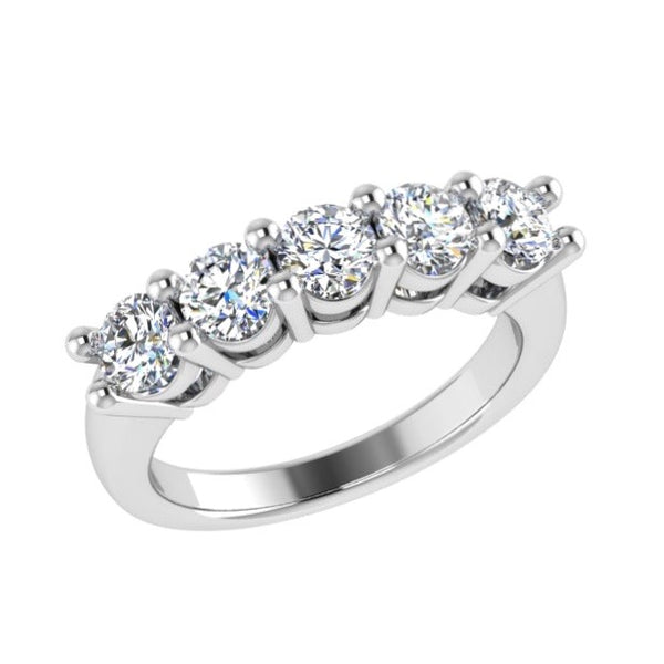 5 Diamond Semi Eternity Ring 18K Gold (1.25 ct.tw) - Thenetjeweler