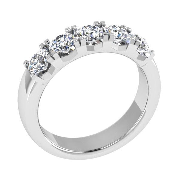 Round Five Stone Diamond Engagement Ring 18K Gold - Thenetjeweler