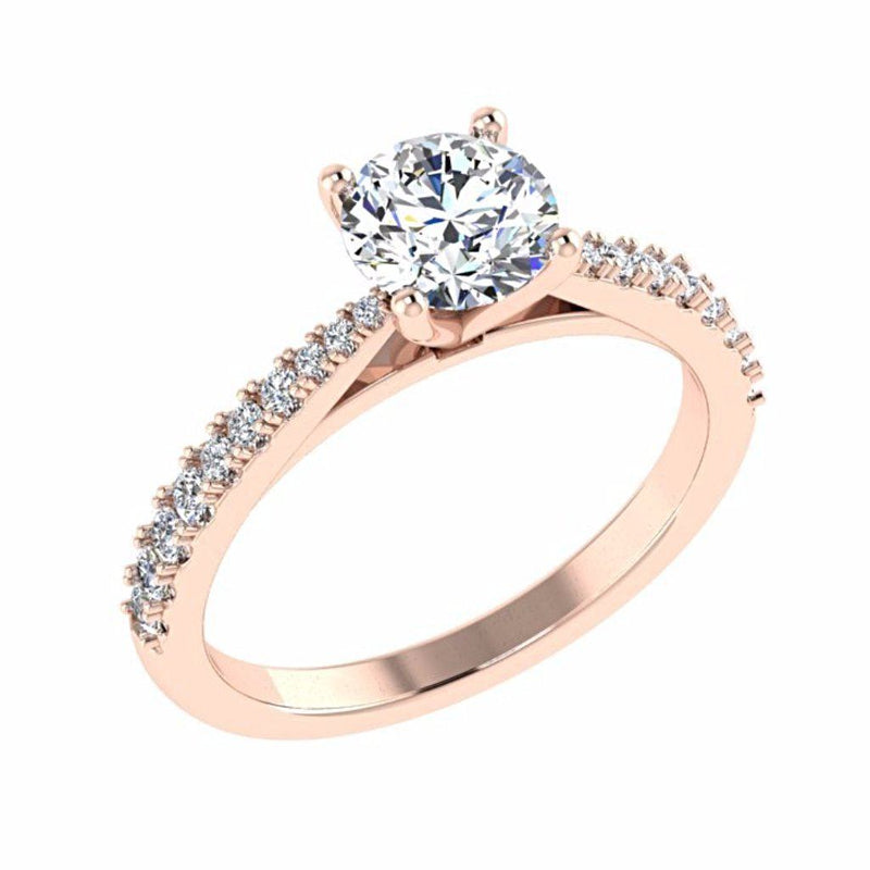 Round Diamond Side Stone Engagement Ring 18K Gold - Thenetjeweler