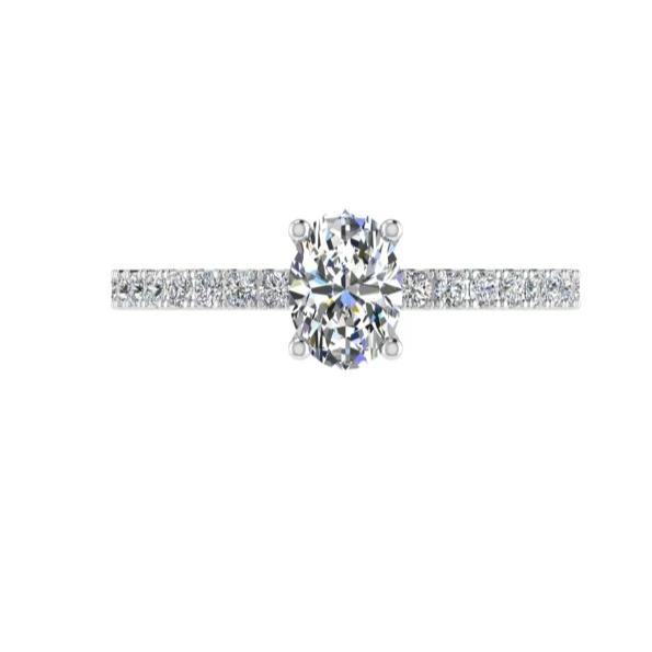 Oval Diamond Engagement Ring with Side Stones 0.26cts - Thenetjeweler