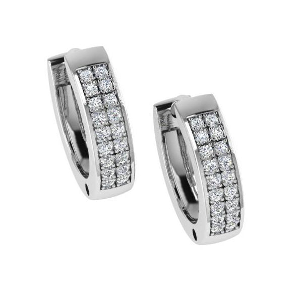 Diamond Huggie Hoop Earrings Two-Row 14k White Gold - Thenetjeweler