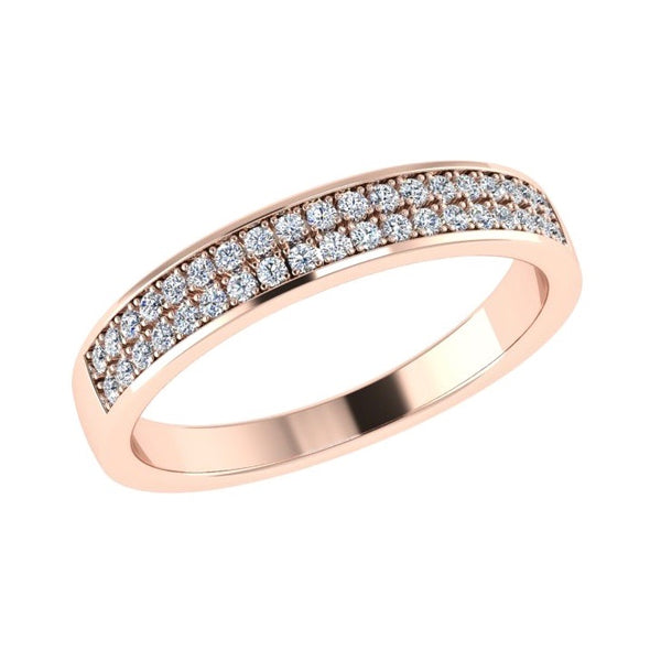 Half Eternity Rose Gold Ring 2 Row Diamonds - Thenetjeweler