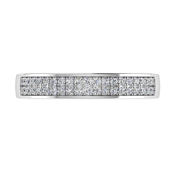 Double Row Diamond Semi Eternity Ring 18K Gold