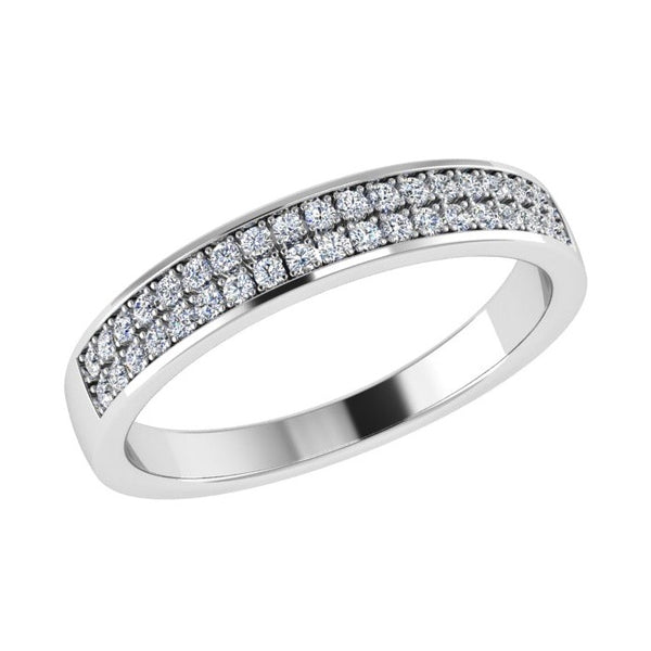 Double Row Diamond Semi Eternity Ring 18K Gold (0.20 ct. tw) - Thenetjeweler