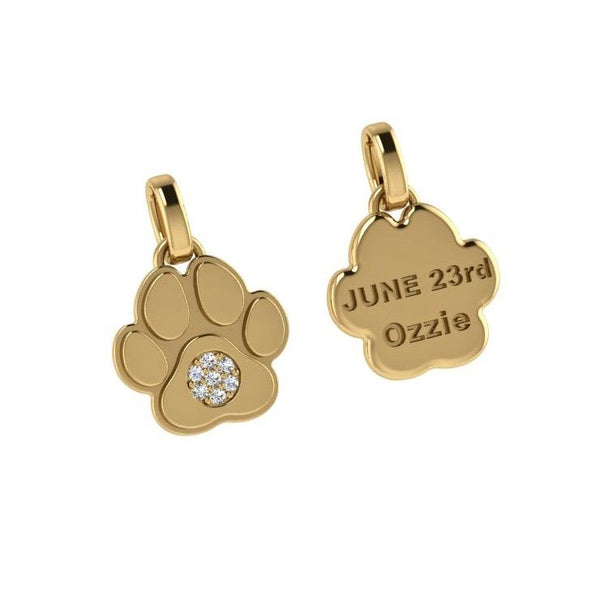 Paw Pendant with Diamonds 14K Gold - Thenetjeweler