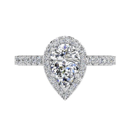 Pear Diamond Halo Side Stone Engagement Ring