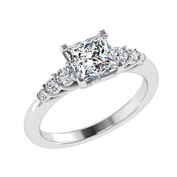 Princess Diamond Engagement Ring 6 Side Stones 18K Gold - Thenetjeweler